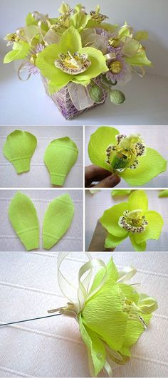 How to make paper flowers step by step Candy Flowers, Faux Flowers, Diy Flowers, Fabric Flowers, Tissue Paper Flowers, Paper Roses, Chocolate Bouquet Diy, Paper Plants, Diy Bouquet