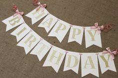 Banner de cumpleaños de rosa y oro   Juego silla alta bandera