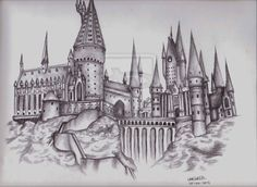 Drawn castle hogwarts school - pin to your gallery. Explore what was found for the drawn castle hogwarts school Harry Potter Sketch, Arte Do Harry Potter, Harry Potter Drawings, Harry Potter World, Harry Potter Hogwarts, Harry Potter Tattoos Sleeve, Disney Hogwarts, Hogwarts Tattoo, Chateau Harry Potter