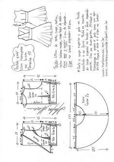 Vestido godê com transpasse Sewing Lessons, Sewing Class, Sewing Studio, Dress Sewing Patterns, Clothing Patterns, Sewing Clothes, Diy Clothes, Pattern Drafting, Diy Dress