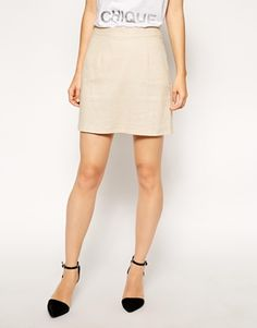 Enlarge ASOS A-Line Linen Mini Skirt