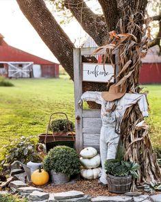 Fall Garden Tour - Down Shiloh Road Ornamental Kale, Autumn Home, Autumn Inspiration, Vintage Metal, Getting Old, Fall Halloween, Little White, Ladder Decor, Fall Decor