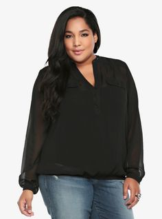 Made from luxurious crinkle chiffon in black, this lightweight long-sleeved top has a studded Mandarin collar, five front buttons and two pockets. An elastic banded bottom adds shape to the sexy silhouette.
