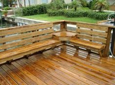 Deck with built-in seating and table - just have to make sure it's low to the ground. If it's up high, the slats have to be verticle.