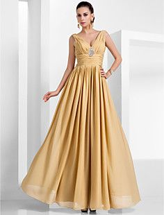 A-line V-neck Floor-length Chiffon Evening Dress  – USD $ 149.99