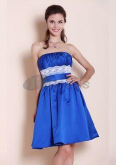 A-line Strapless Knee-length Satin Lace Short Prom Dresses Cheap Bridesmaid Dresses Online, Satin Bridesmaid Dresses, Wedding Party Dresses, Bridal Dresses, Strapless Dress Formal, Prom Dresses, Bridesmaids, Dress Making, Blue Dresses