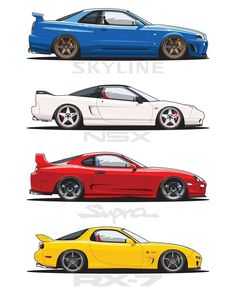 """6,122 Likes, 187 Comments - Collective JDM (@collectivejdm) on Instagram: """"Four legends! Pick one! /#collectivejdm Like, comment & tag a friend! Artwork by: @artforces15…"""""""