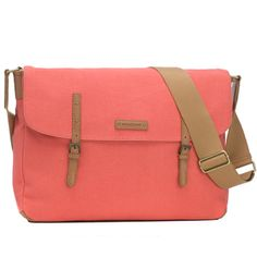Storksak Ashley Canvas Messenger Diaper Bag - Coral | Maternity Clothes  www.duematernity.com Follow Due Maternity on Instagram www.instagram.com... BEST selection of Maternity clothes anywhere!