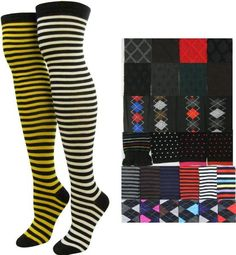 "NEW! Wholesale Ladies Over Knee High Socks- Assorted Colors, 9-11  •Ladies over knee high socks in assorted colors and styles.  Size: 9-11 •Material: 55% Polyester, 35% Cotton, 10% Spandex. •Colors: Assorted (See picture for reference).  •*Color/Styles may vary per case* •Packaged individually with hanger. •20"" long (ankle to thigh), 7"" foot, and 3.5"" wide (un-stretched) •Qty: 36 pieces- mixed designs/colors.  •*Designs and colors may vary per Box*"