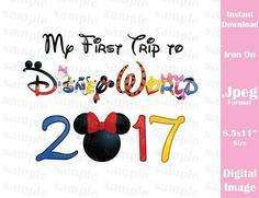 Instant Download First Trip Mouse Ears Minnie Family Vacation 2017 Jpeg Format for Iron On