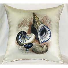 Three Shells Antique Print Pillow - Large indoor/outdoor pillow. These versatile pillows are equally at home enhancing an interior design or adding life to an outdoor setting. They feature printed out
