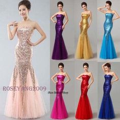 Long Sequins Mermaid Evening Party Formal Dress Women Bridesmaid Prom Ball Gowns #Roseyang2009 #Mermaid #Cocktail