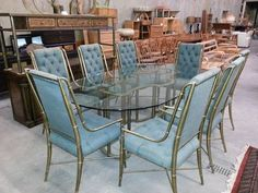 Vintage 70s Mastercraft Brass Bamboo Racetrack Table 8 Dinning Chairs on Etsy, $18,000.00