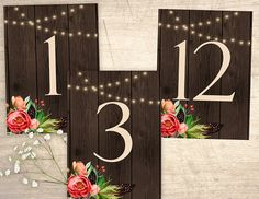 Rustic Country Printable Table Numbers design No. 215 - personalized table numbers for wedding, bridal shower, baby shower DIY