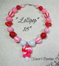 """Lollipop"" Chunky Beaded Necklace, Valentines Day, Photo Prop, Child, Adult"