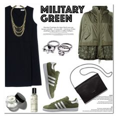 """""""Attention! Go Army Green"""" by helenevlacho ❤ liked on Polyvore featuring Moncler, Jil Sander, adidas Originals, Loeffler Randall, Bobbi Brown Cosmetics, Topshop, military, Gogreen and contestentry"""