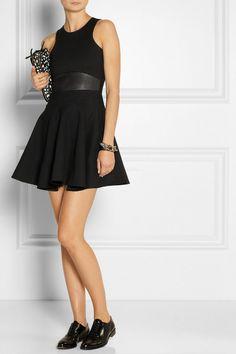 Mason by Michelle Mason Leather-trimmed stretch-ponte mini dress NET-A-PORTER.COM