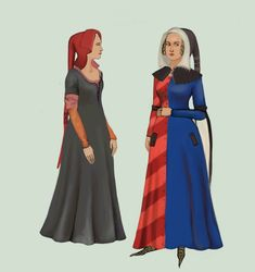 1330  open hoods, were popular headgear especially among the bourgeoise, but women from all classes wore them. The woman on the left is from the working class. She's wearing a red hood with a simple black dress worn over a pink kirtle and orange sleeves.The lady on the right is wearing a much fancier, particolored dress, with some really pointy shoes and a black hood, with a cape Dresses from that period often had pockets, or rather holes through which one could grab a purse tied to a belt