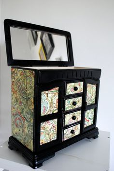 Olive Green Upcycled Vintage Jewelry Box - Reduced Price