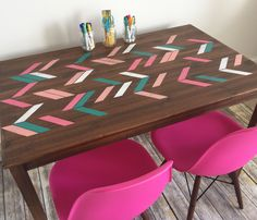 IKEA INGO table makeover.  Stained in general finishes antique walnut and stenciled.  Perfect craft/homework table!