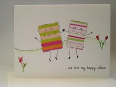 OOAK You are my happy place hand drawn card made by ladybugonaleaf, $4.00
