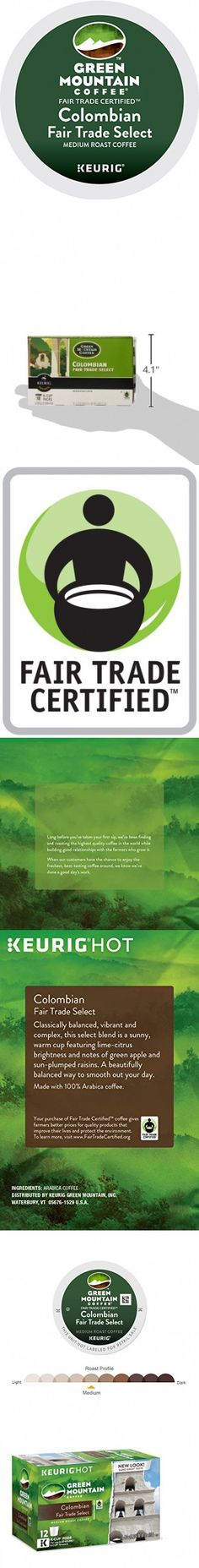 Green Mountain Coffee Colombian Fair Trade Select Keurig Single-Serve K-Cup Pods, Medium Roast Coffee, 72 Count (6 Boxes of 12 Pods)