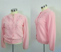 1950s 1960s Pink Embroidered Wool Cardigan by rileybellavintage