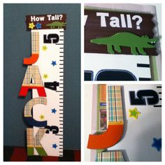 Growth chart for a friend's baby boy! Everything from Hobby Lobby... Wood, scrapbook paper, ribbon, paint, modge podge... :o) fun, easy, and cute! Made to match their plaid/alligator-themed nursery.