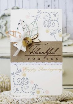 Thankful For You Card by Melissa Phillips for Papertrey Ink (August 2014)