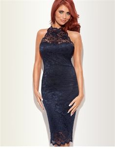 Lola Navy    This classy yet sexy #vintage dress features a cut away shoulder and a scalloped lace halterneck. Perfect for any occasion, www.lipstickbouti...