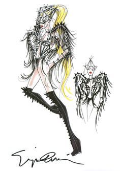Giorgio Armani sketch for Lady Gaga