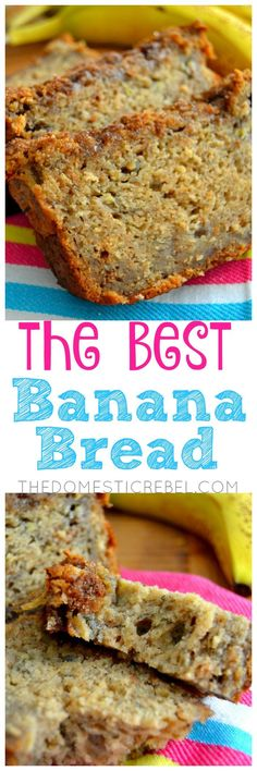 The BEST Banana Bread This Banana Bread truly is the BEST! Supremely moist, fluffy, soft and has great texture with a cinnamon brown sugar streusel on top. The secret ingredient makes it extra delicious! This is the ONLY recipe you need! Just Desserts, Delicious Desserts, Yummy Food, Breakfast Recipes, Dessert Recipes, Fruit Recipes, Best Banana Bread, Banana Bread With Buttermilk, Banana Bread Without Sugar
