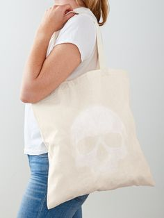 """""""White Skull """" Tote Bag by LunchboxPrint 