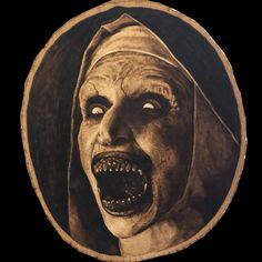 My wood-burned portrait of Valak the demonic nun from The Conjuring Scary Art, Demon Art, Satanic Art, Dark Drawings, Scary Faces, Horror Tattoo, Art, Dark Art, Valak