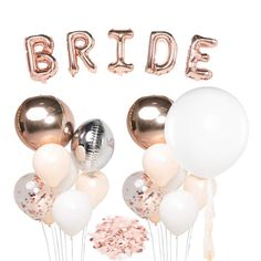 Cool and classy hen party decorations for the best hen party ever! Hen Party Balloons, Bride To Be Balloons, Rose Gold Balloons, Giant Balloons, Confetti Balloons, Hen Party Decorations, Bridal Shower Decorations, Bridal Shower Gifts, Bachelorette Party Supplies