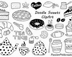 Doodle snoep clipart, thee tijd illustraties, Dessert Doodles, PNG, EPS, AI, Vector, lijntekeningen, Hand getrokken Candy, voor persoonlijk en commercieel gebruik