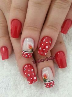 Pincelada Funky Nails, Red Nails, Cute Nails, French Nails, Fingernails Painted, Daisy Nails, Plaid Nails, Dot Nail Art, New Nail Designs