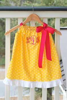 Silly Lilly Kids Pillowcase Dress Yellow Polka by SillyLillyKids, $28.00