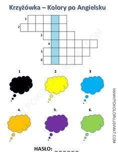 Krzyżówka kolory po Angielsku do wydruku | Pokoloruj Świat