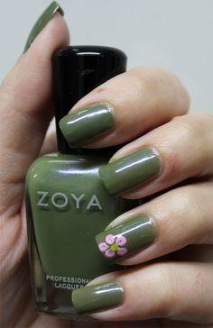 Zoya Gemma with flower accent using Julep Carrie and Zoya Mitzi