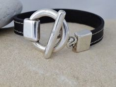 Leather with silver toggle clasp bracelet