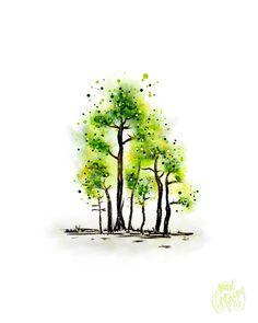 Watercolor Painting Techniques, Watercolor Trees, Watercolor Cards, Watercolor Landscape, Watercolor Illustration, Painting & Drawing, Watercolor Paintings, Watercolours, Flowers Wallpaper