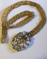 Vintage 1930's 40's CRYSTAL RHINESTONE BUCKLE CHAIN BELT - OLD HOLLYWOOD!