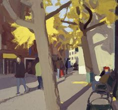 John Dubrow Yellow Tree, Early Morning, 2010, oil on linen, 30 x  		  32 in