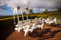Kaanapali Coffee Farm Maui Wedding Setup by Hawaiian Style Event Rentals / www.hawaiianrents.com