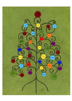 Christmas Tree Buton Art Christmas Card by Etsy Cre8tivePapier