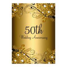 Shop Gold Black Diamond Floral Swirl Anniversary Invitation created by Zizzago. 50th Wedding Anniversary Wishes, 50th Anniversary Invitations, Anniversary Decorations, Anniversary Parties, Zazzle Invitations, Anniversary Ideas, Golden Anniversary, Anniversary Quotes, Invitation Cards