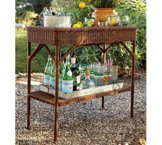 Palmetto All-weather Wicker Bar Console - Honey