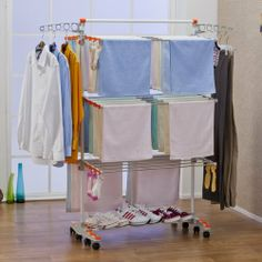 Badoogi BDP-V12 Foldable Heavy Duty and Compact Storage Drying Rack System, Premium Size by Badoogi. $54.99. 8 Of rotating wheels: 72 clips to hang socks: 2 side wings to hang garments on hangers. Double base bars to dry shoes. 6 Fully adjustable shelf height stainless steel heavy-duty resin shelves with 24 Stainless steel hanging rods all together. Folded flat for compact storage. No-tools assembly. This foldable heavy-duty drying rack is finally going to free u...