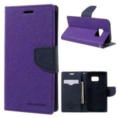 Galaxy S7 Genuine MERCURY Goospery Purple Fancy Diary Flip Case Wallet Cover